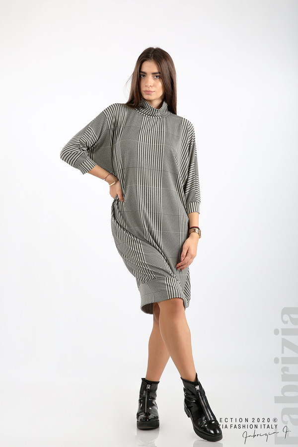 Свободна фигурална рокля бежов/черен 1 fabrizia