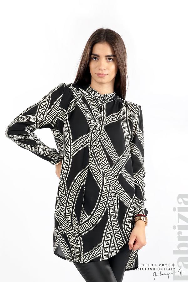 Дълга риза с фигурални елементи черен 1 fabrizia