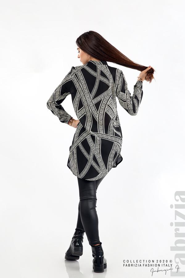 Дълга риза с фигурални елементи черен 6 fabrizia