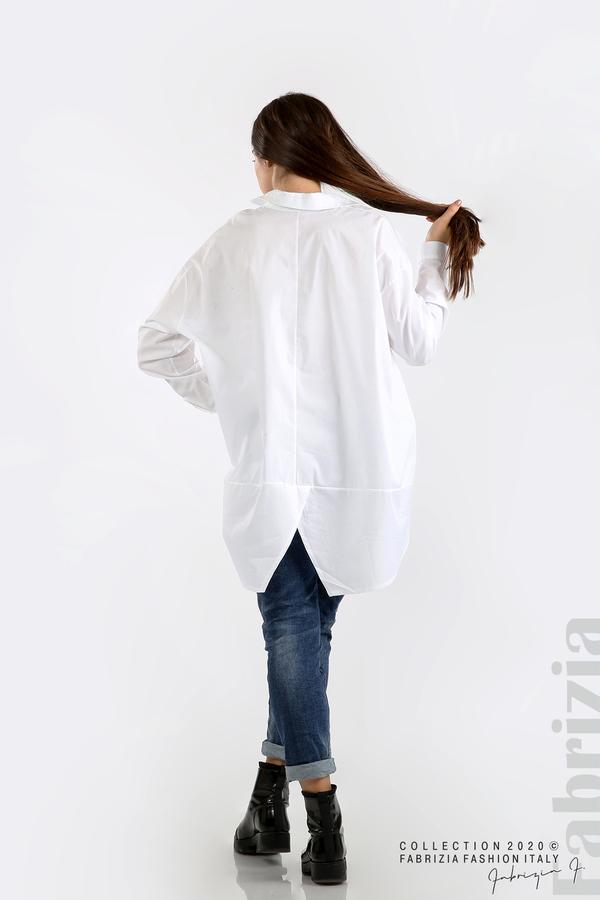 Широка риза с различна дължина бял 6 fabrizia