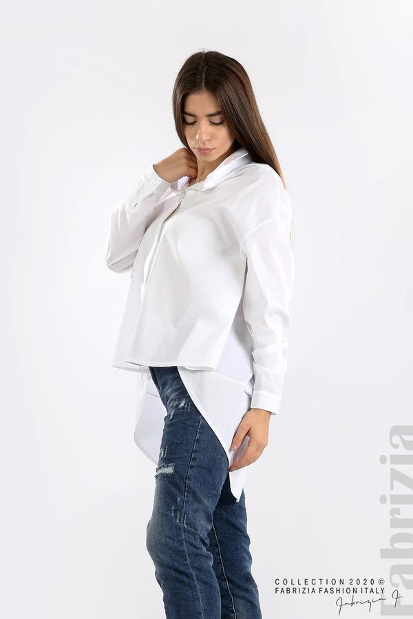 Широка риза с различна дължина бял 3 fabrizia
