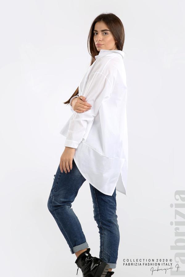 Широка риза с различна дължина бял 5 fabrizia
