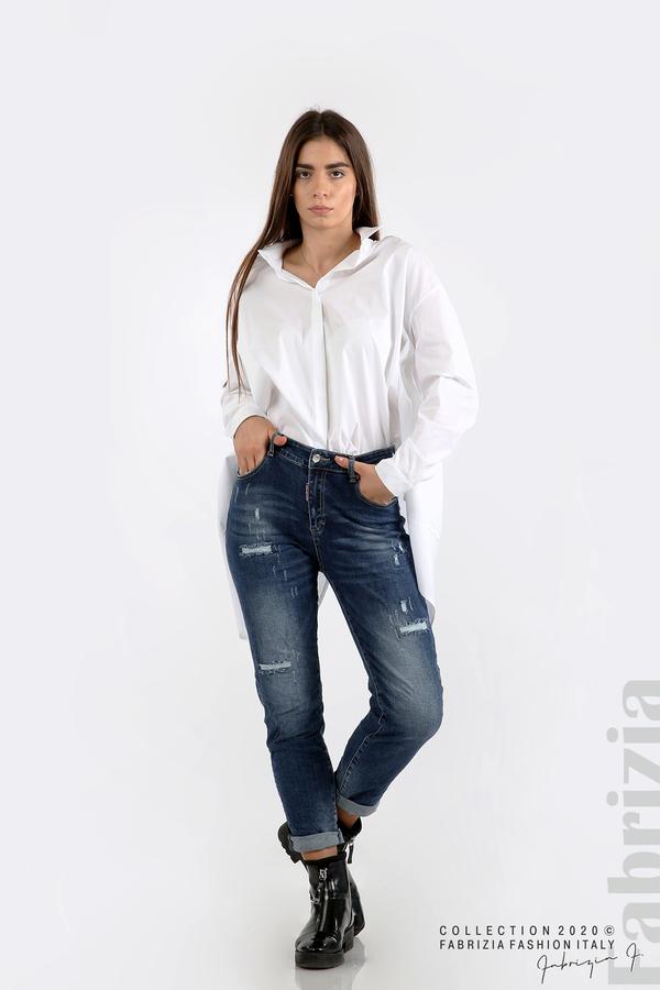 Широка риза с различна дължина бял 4 fabrizia