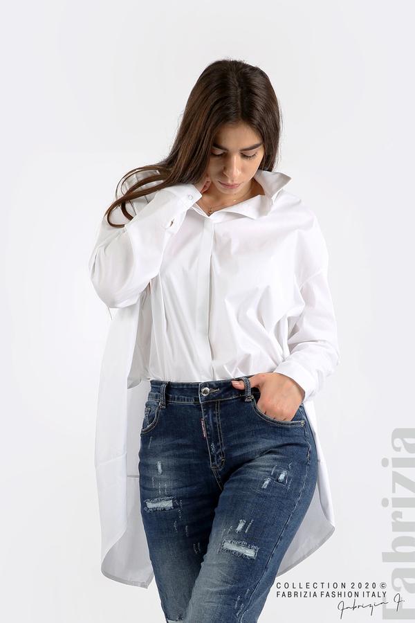 Широка риза с различна дължина бял 1 fabrizia
