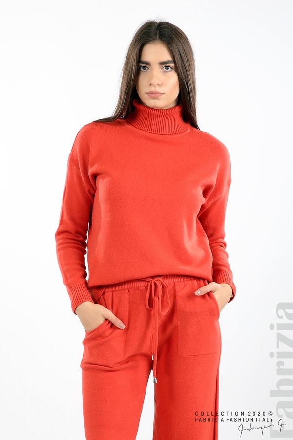 Комплект блуза с поло яка и панталон керемида 3 fabrizia