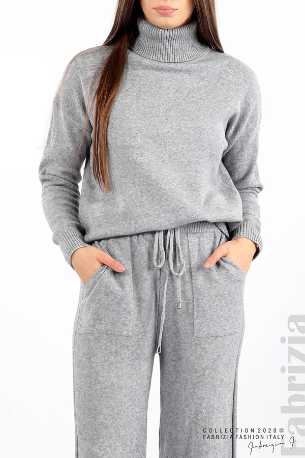 Комплект блуза с поло яка и панталон сив 3 fabrizia