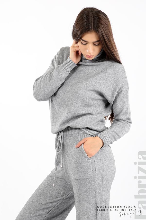 Комплект блуза с поло яка и панталон сив 5 fabrizia