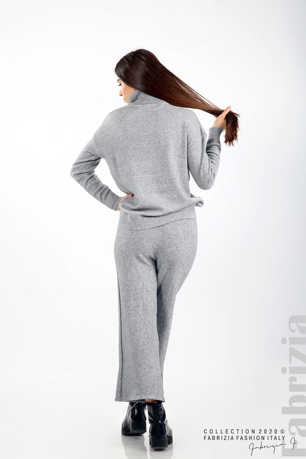Комплект блуза с поло яка и панталон сив 7 fabrizia
