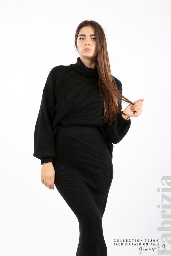 Комплект блуза и пола едро плетиво черен 3 fabrizia