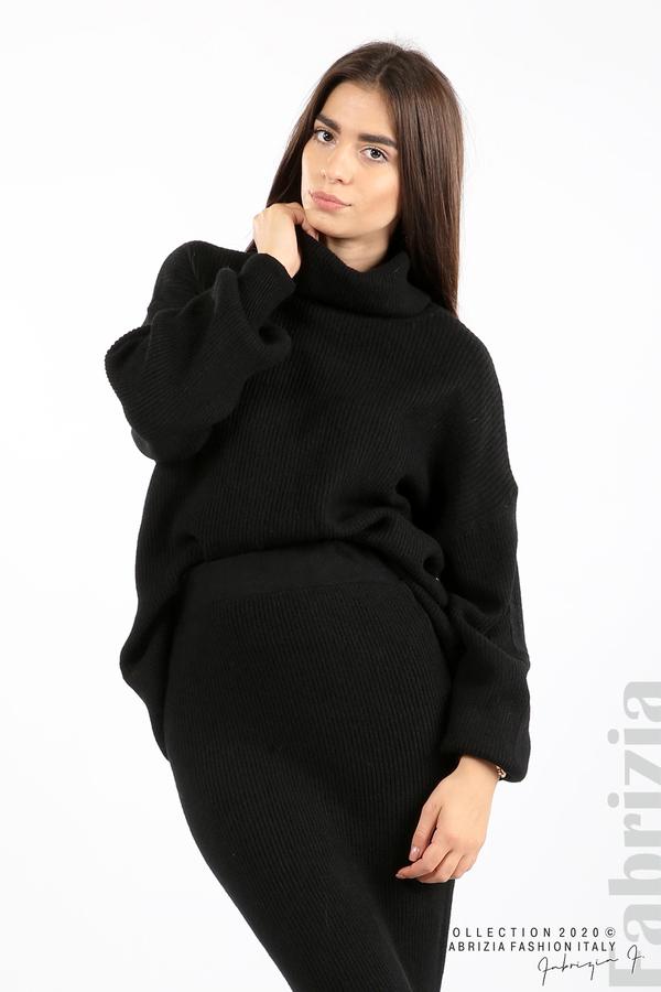 Комплект блуза и пола едро плетиво черен 1 fabrizia