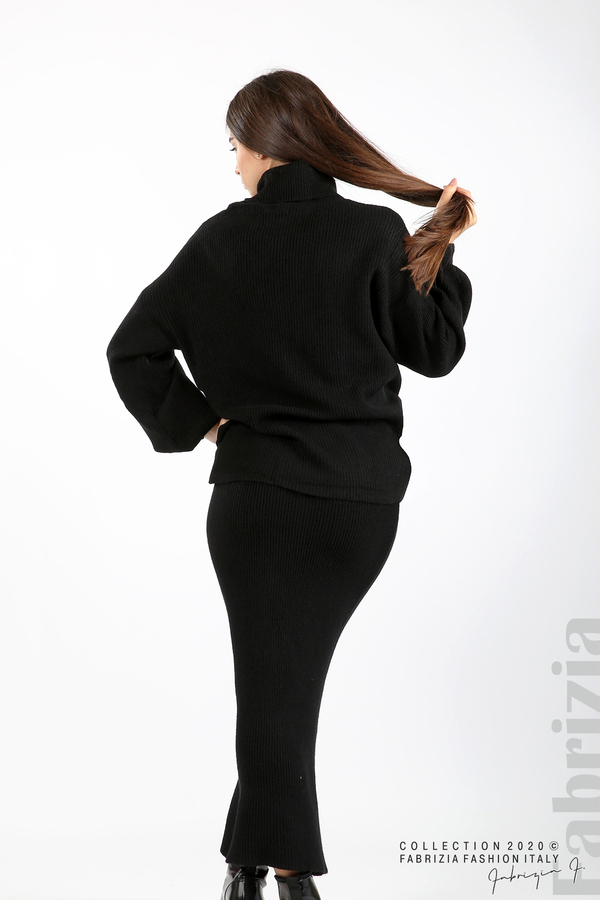 Комплект блуза и пола едро плетиво черен 6 fabrizia