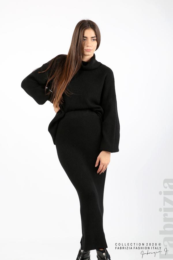 Комплект блуза и пола едро плетиво черен 5 fabrizia