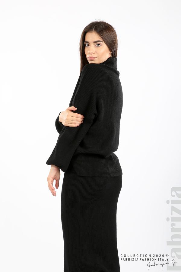 Комплект блуза и пола едро плетиво черен 4 fabrizia