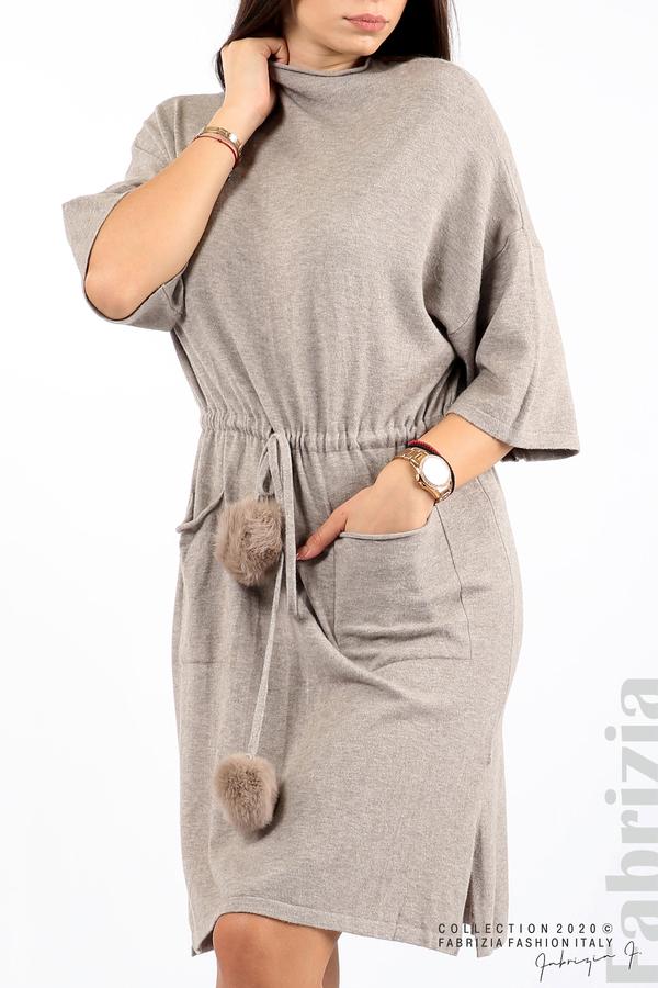 Трикотажна рокля с пристягане на талията сив 1 fabrizia