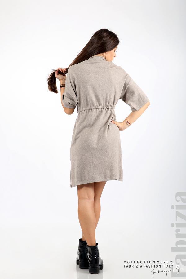 Трикотажна рокля с пристягане на талията мляко с какао 6 fabrizia
