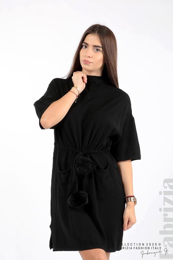 Трикотажна рокля с пристягане на талията черен 1 fabrizia
