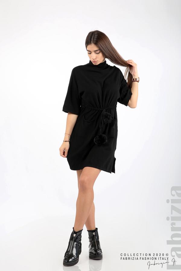 Трикотажна рокля с пристягане на талията черен 3 fabrizia