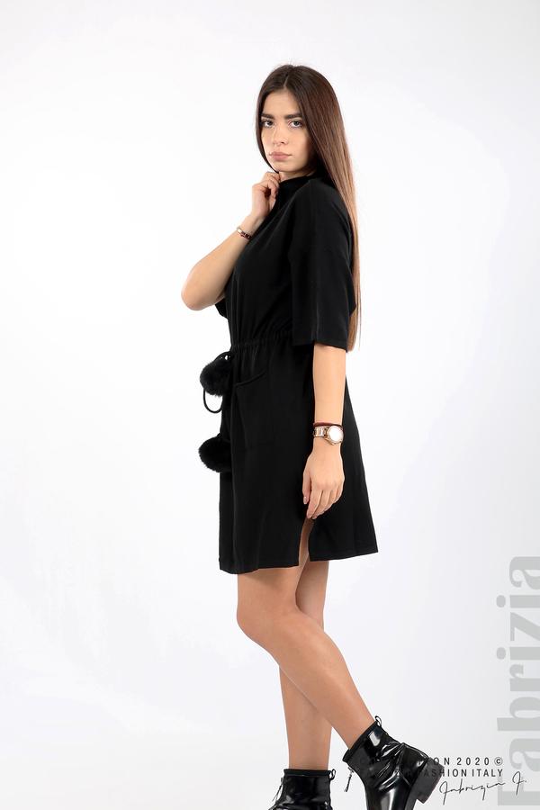Трикотажна рокля с пристягане на талията черен 4 fabrizia