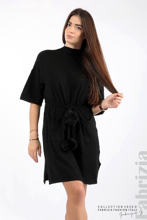 Трикотажна рокля с пристягане на талията черен 5 fabrizia