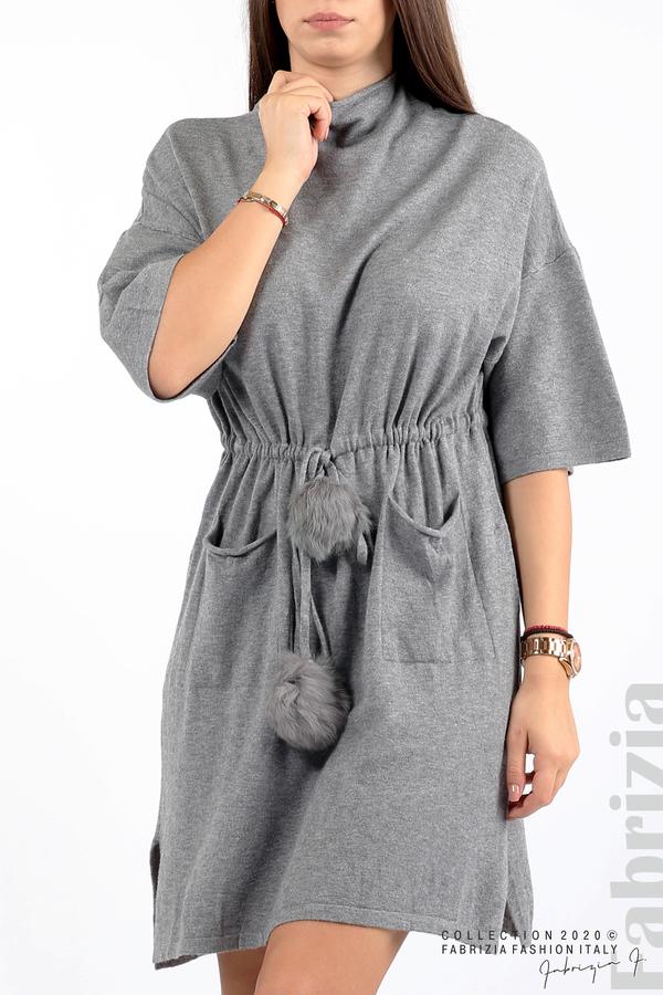 Трикотажна рокля с пристягане на талията сив 2 fabrizia