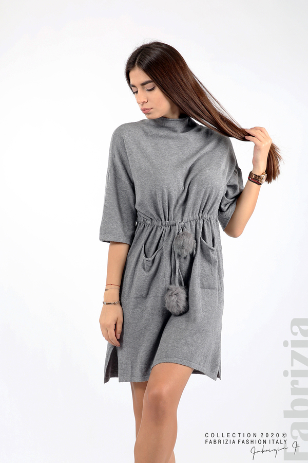Трикотажна рокля с пристягане на талията сив 3 fabrizia