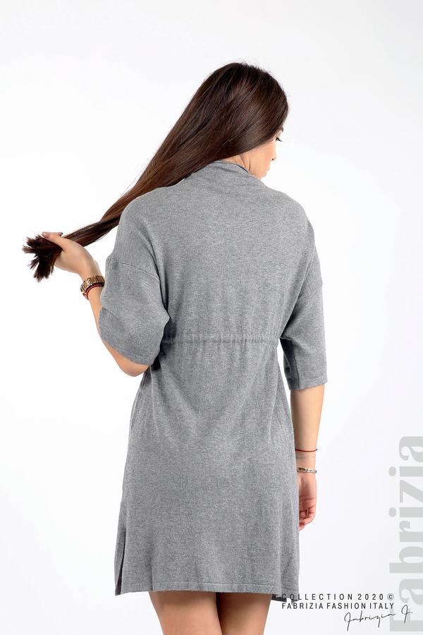 Трикотажна рокля с пристягане на талията сив 6 fabrizia