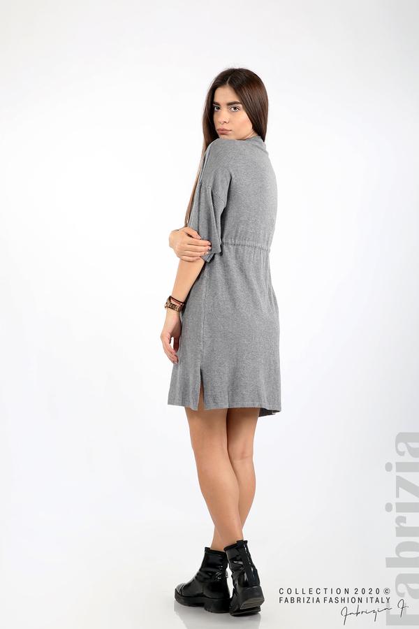Трикотажна рокля с пристягане на талията сив 5 fabrizia