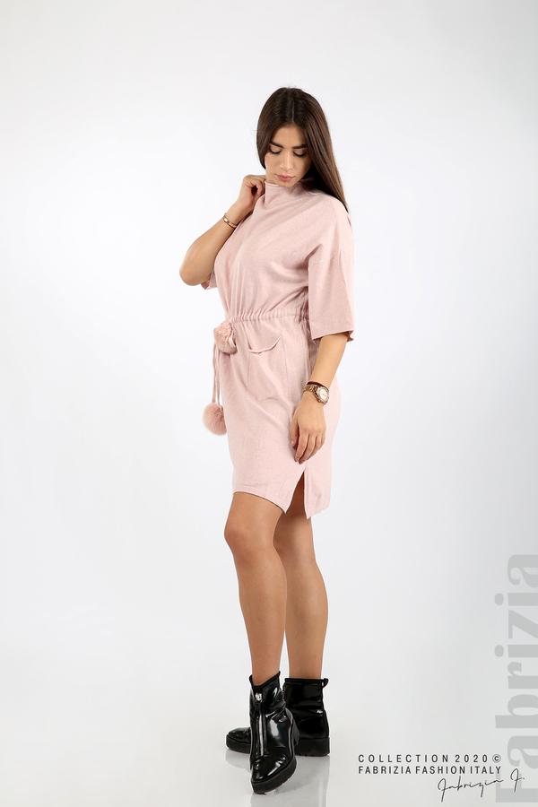 Трикотажна рокля с пристягане на талията розов 3 fabrizia