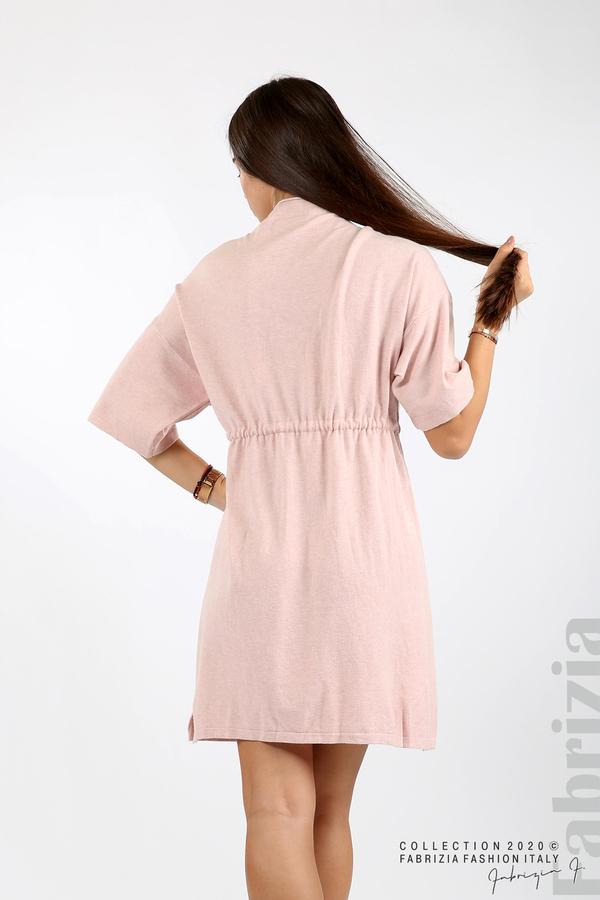 Трикотажна рокля с пристягане на талията розов 6 fabrizia