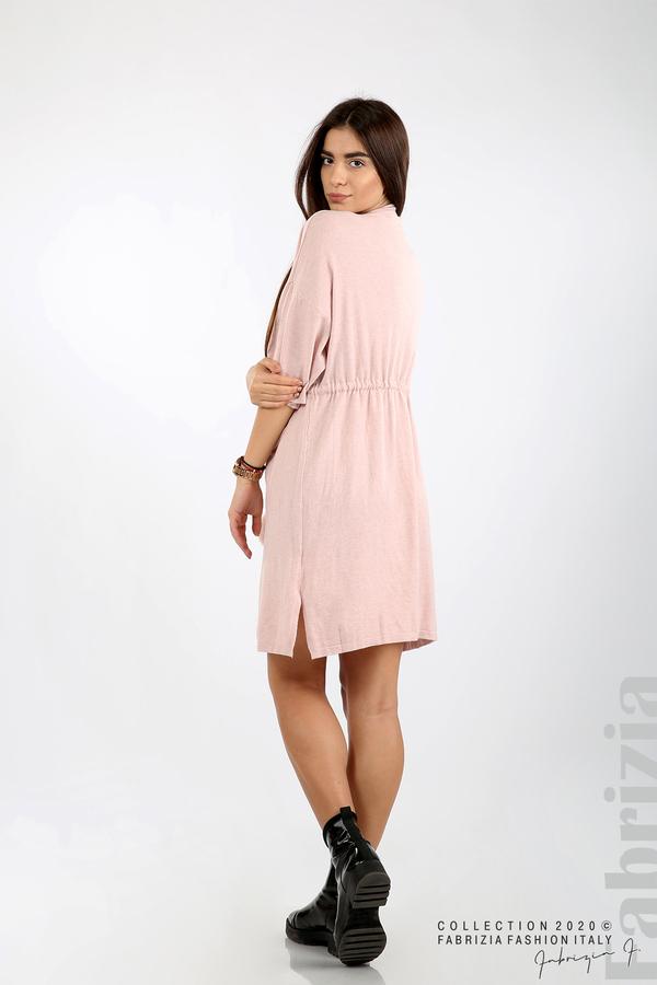 Трикотажна рокля с пристягане на талията розов 5 fabrizia