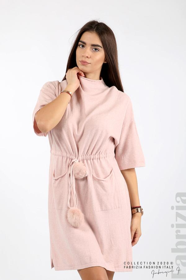 Трикотажна рокля с пристягане на талията розов 1 fabrizia