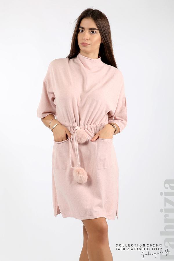 Трикотажна рокля с пристягане на талията розов 4 fabrizia