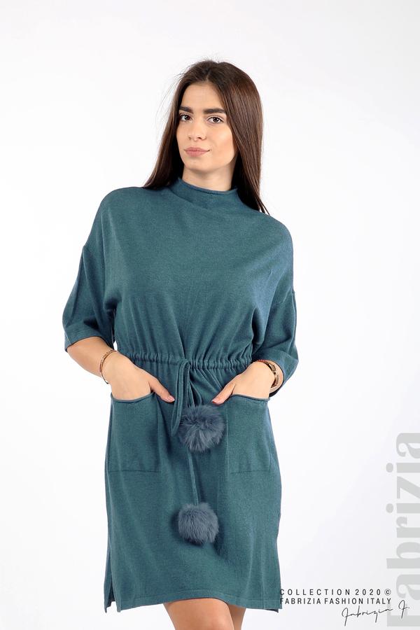 Трикотажна рокля с пристягане на талията д.син 1 fabrizia