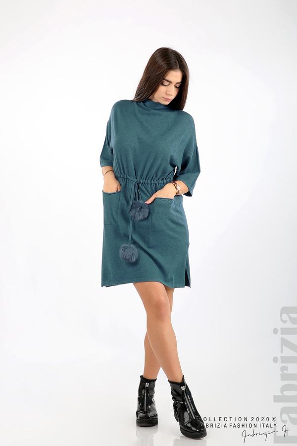 Трикотажна рокля с пристягане на талията д.син 4 fabrizia