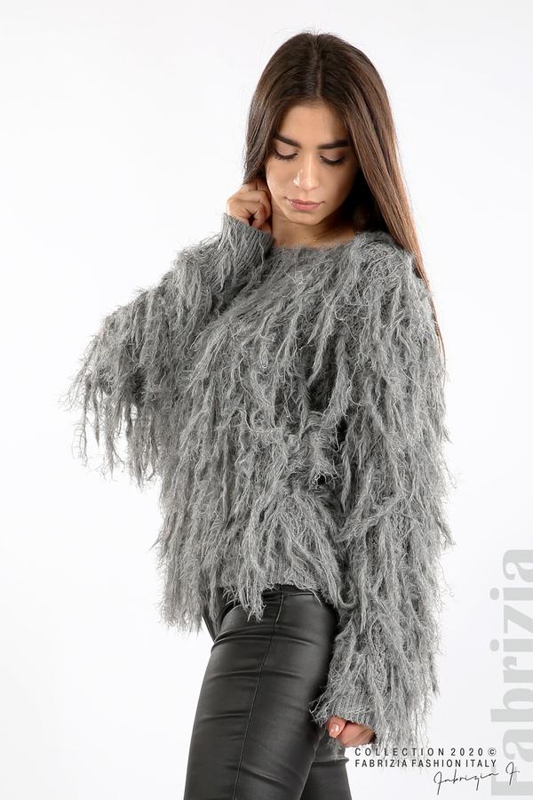 Блуза едро плетиво с висящи елементи сив 1 fabrizia