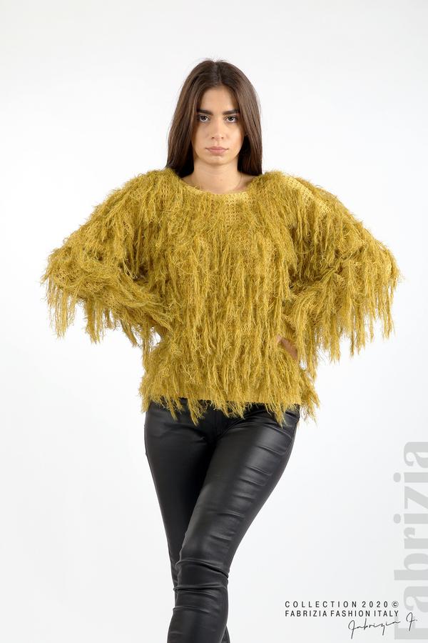 Блуза едро плетиво с висящи елементи горчица 2 fabrizia