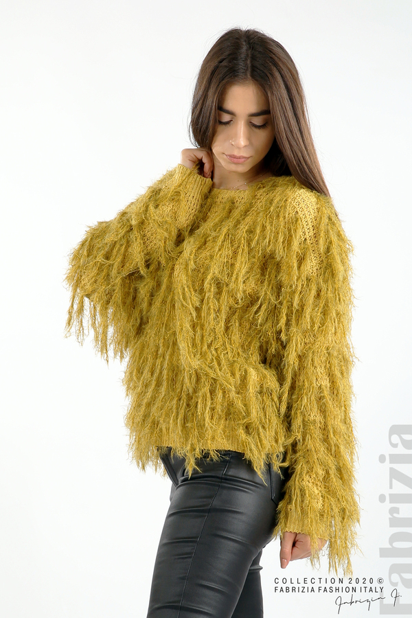 Блуза едро плетиво с висящи елементи горчица 4 fabrizia