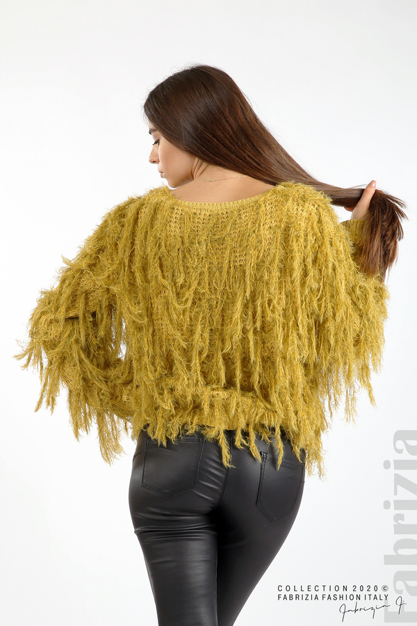 Блуза едро плетиво с висящи елементи горчица 6 fabrizia