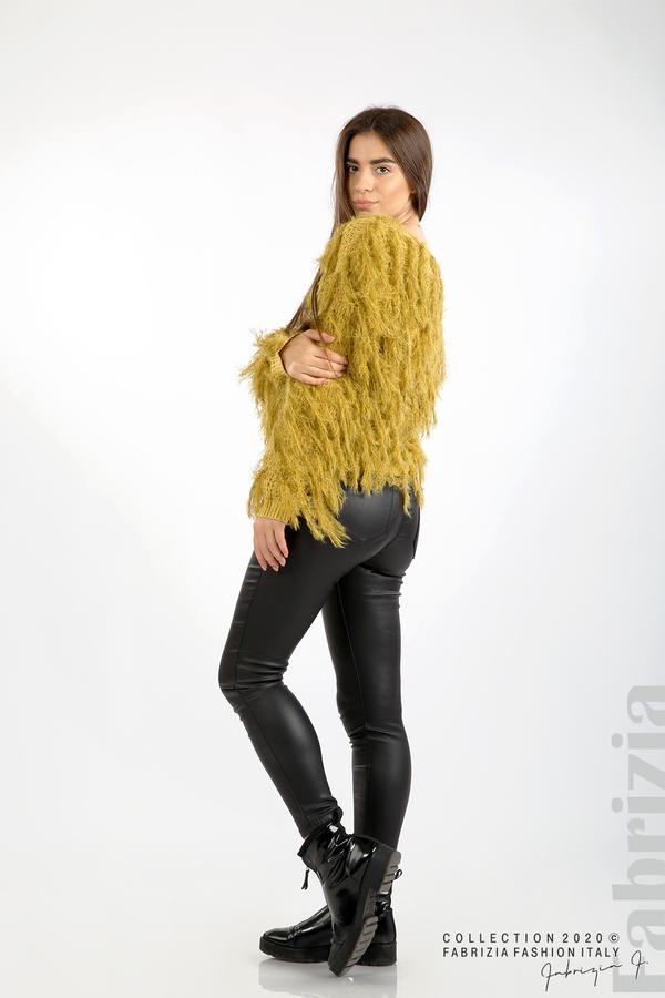 Блуза едро плетиво с висящи елементи горчица 5 fabrizia
