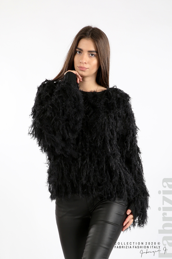 Блуза едро плетиво с висящи елементи черен 1 fabrizia