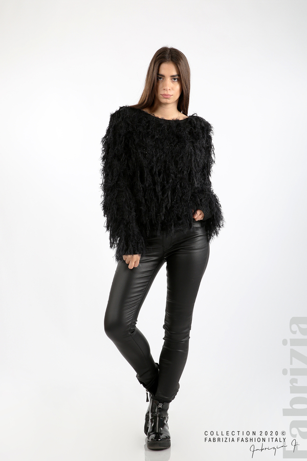 Блуза едро плетиво с висящи елементи черен 3 fabrizia