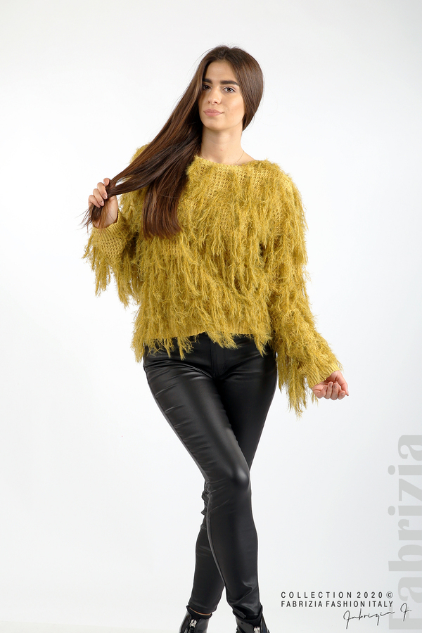 Блуза едро плетиво с висящи елементи горчица 3 fabrizia