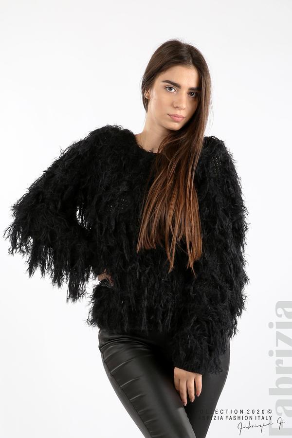 Блуза едро плетиво с висящи елементи черен 4 fabrizia