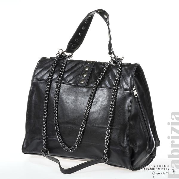 Чанта с капси на капака и странични ципове черен 1 fabrizia
