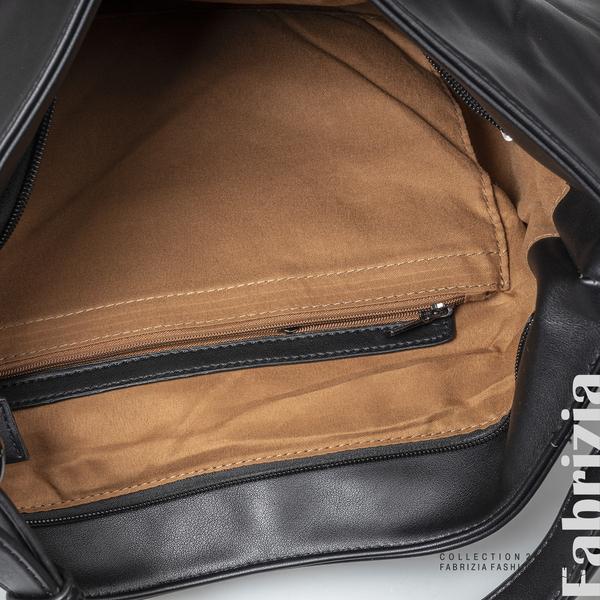 Чанта с капси на капака и странични ципове черен 4 fabrizia