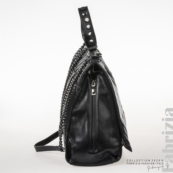 Чанта с капси на капака и странични ципове черен 3 fabrizia