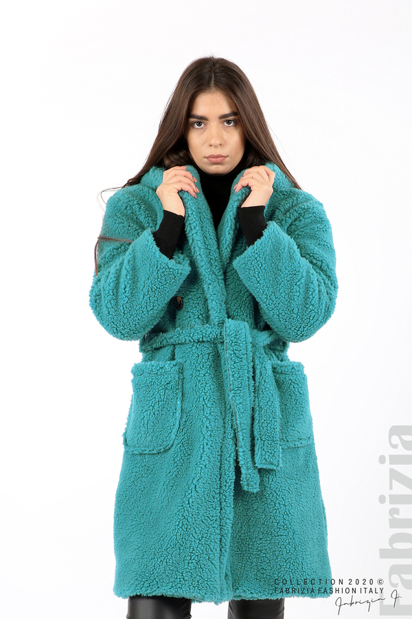 Едноцветно палто с качулка св.син 1 fabrizia