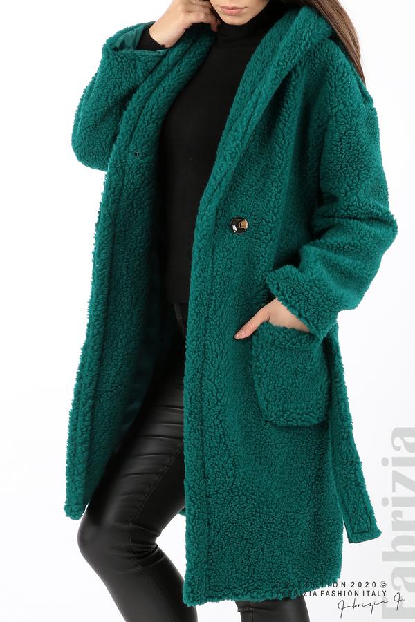 Едноцветно палто с качулка отанио 2 fabrizia