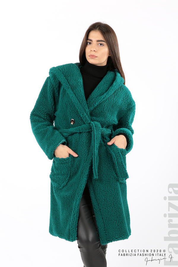 Едноцветно палто с качулка отанио 1 fabrizia