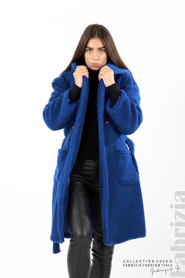 Едноцветно палто с качулка кр.син 4 fabrizia